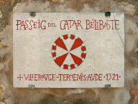 Place dedicated to the Gilhem de Bélibaste Cathar Walk, in Sant Mateu (Baix Maestrat), by Llapisera, CC BY-SA 4.0, https://commons.wikimedia.org/w/index.php?curid=18984143
